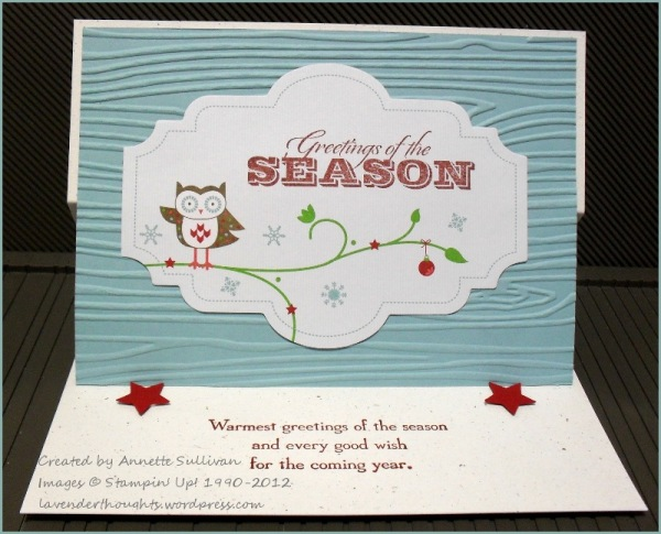 Greetings of the Season Baja Breeze Snow Festival Designer Tag Owl