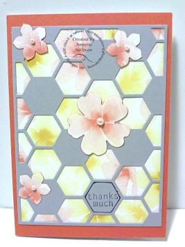Hexagon Hive Watercolor Wonder Tangerine Slate