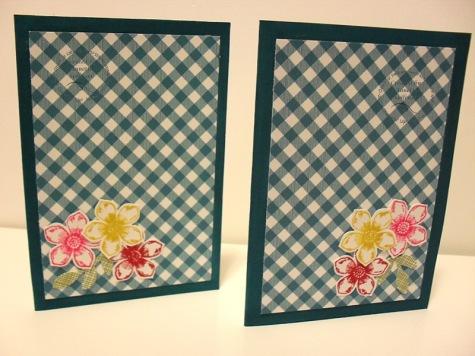Petite Petals Gingham Garden Indigo Note Cards