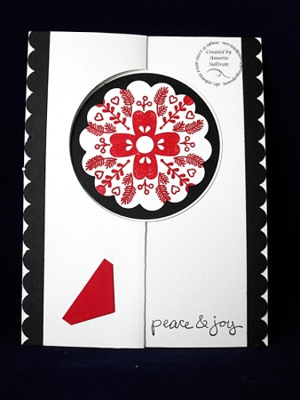 Cheerful Christmas Black White Red Circle