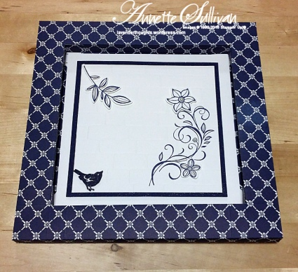 Falling Flowers Brick Navy Shadow Box