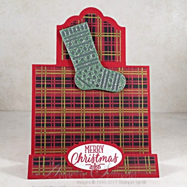 Hang Your Stocking Red Plaid Stand Up Label