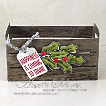 Holly Berry Happiness Wood Crate SIDE 1