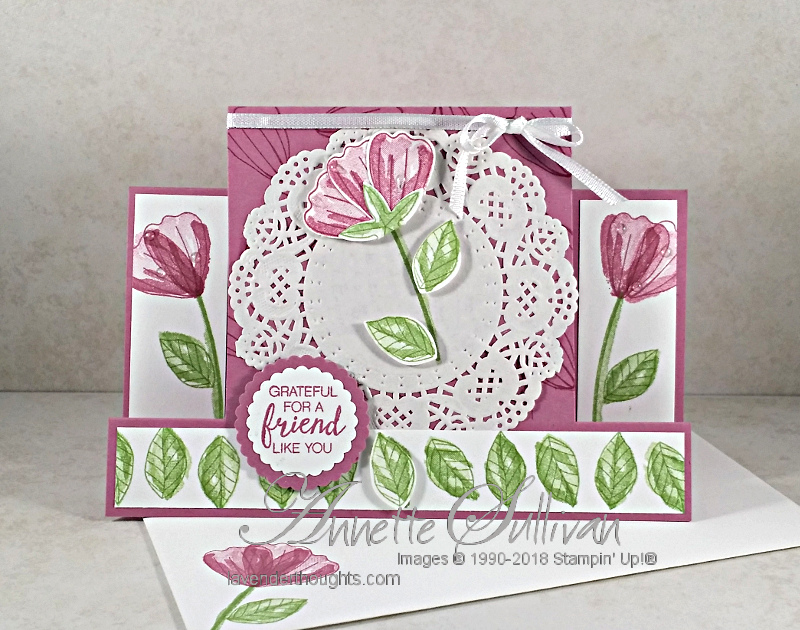 Centre Step Fancy Fold Card with Bunch ofBlossoms
