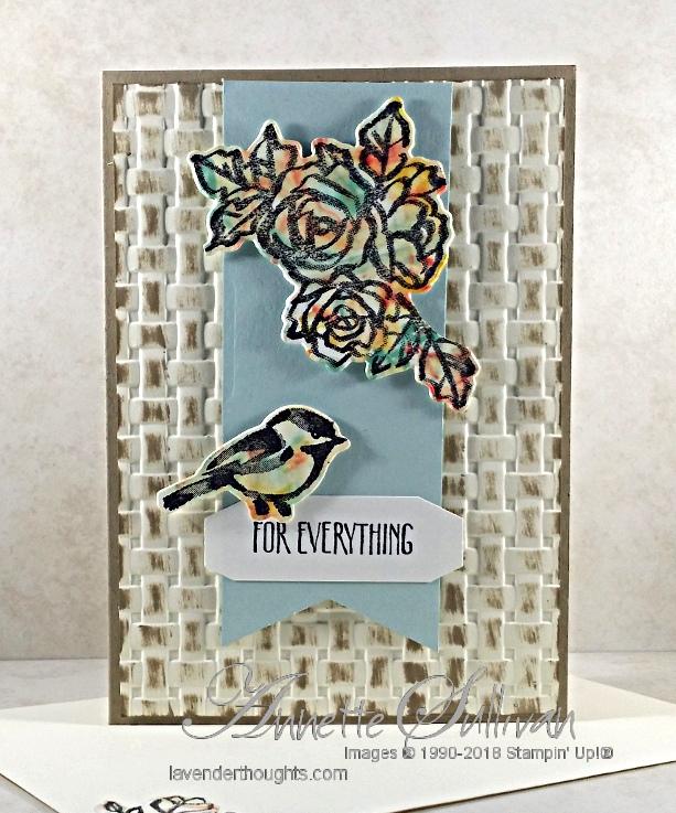 Petal Palette Flower and Bird using the Shaving Cream BackgroundTechnique