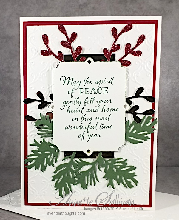An elegant Christmas card with embossing and diecuts