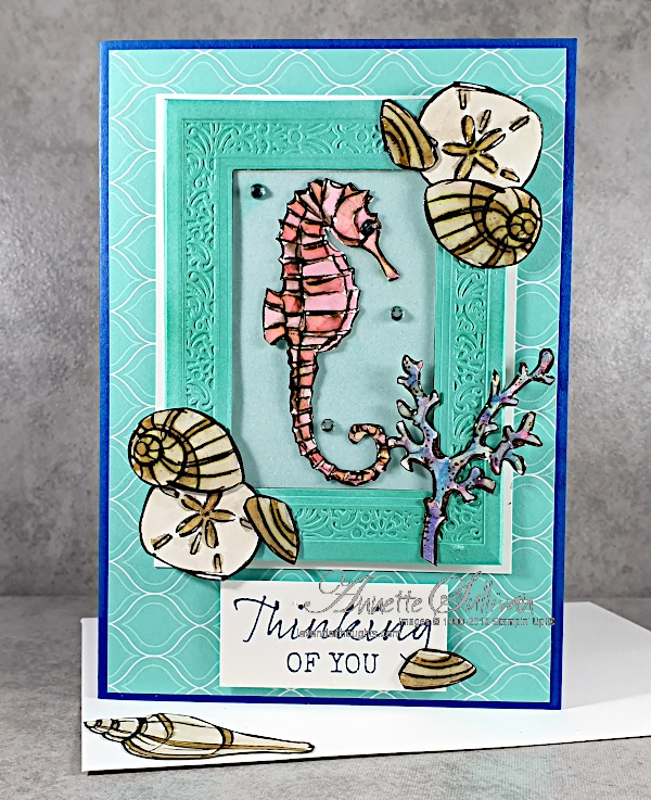 Shells, Coral and a pink Sea Horse for the Color Challenge at Splitcoaststampers