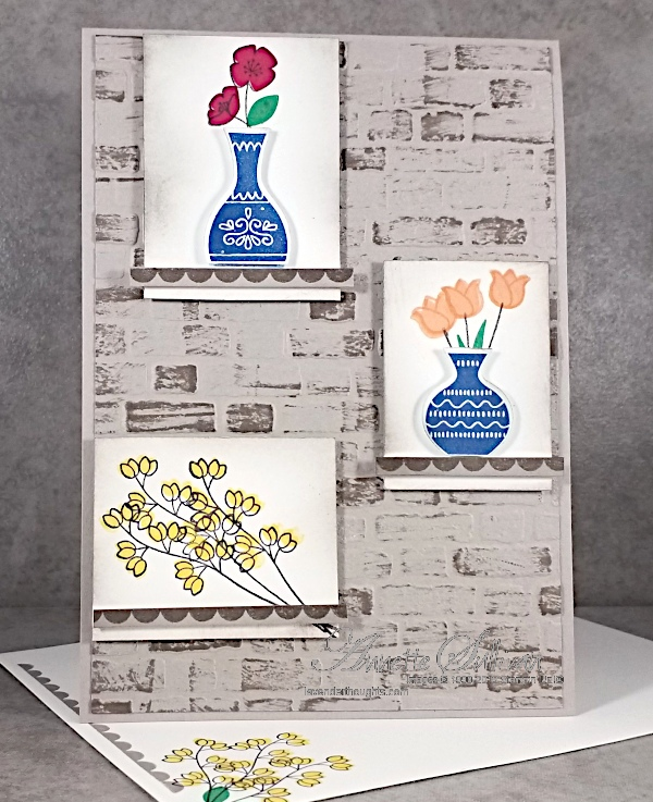 Vases and flowers in windows on a wall for the Sketch Challenge at Splitcoaststampers