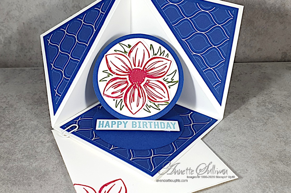 Triangle Corner Pop Up Fancy Fold Card for the Color Challenge at Splitcoaststampers