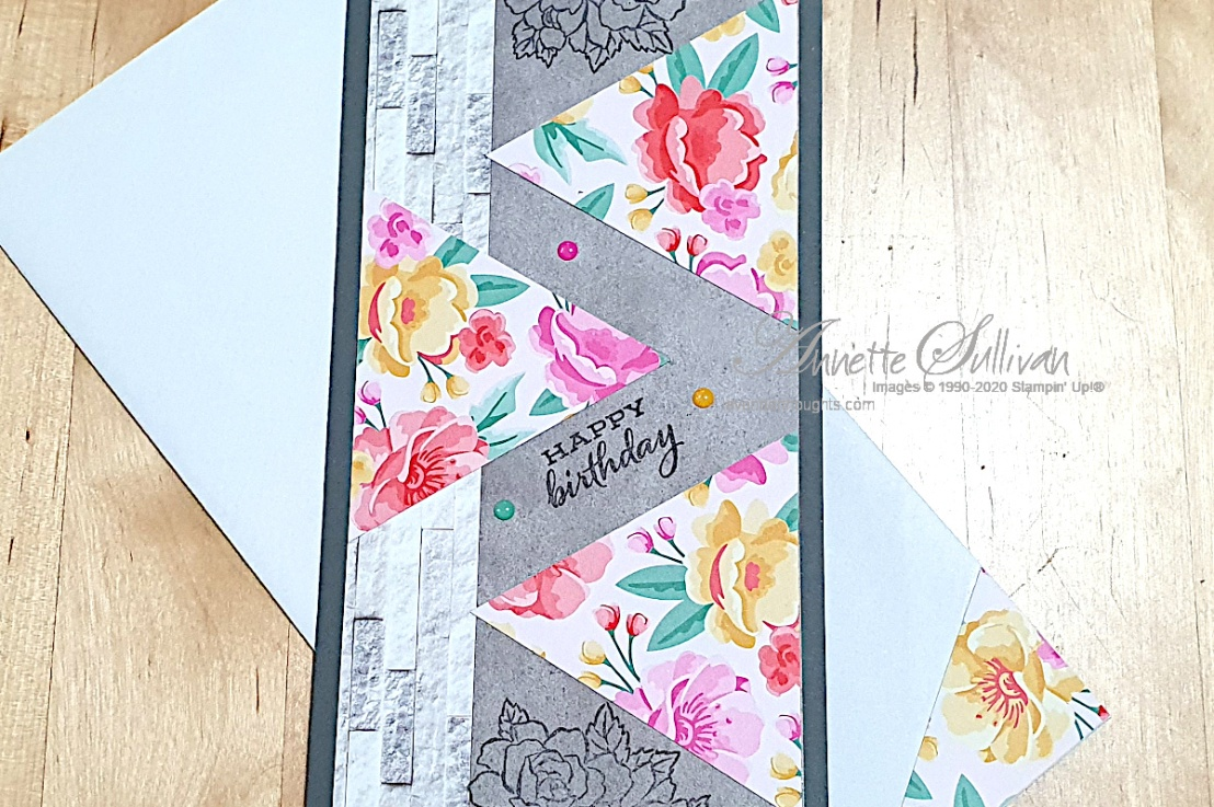 Four Season Floral Slimline Card for the Splitcoaststampers SketchChallenge