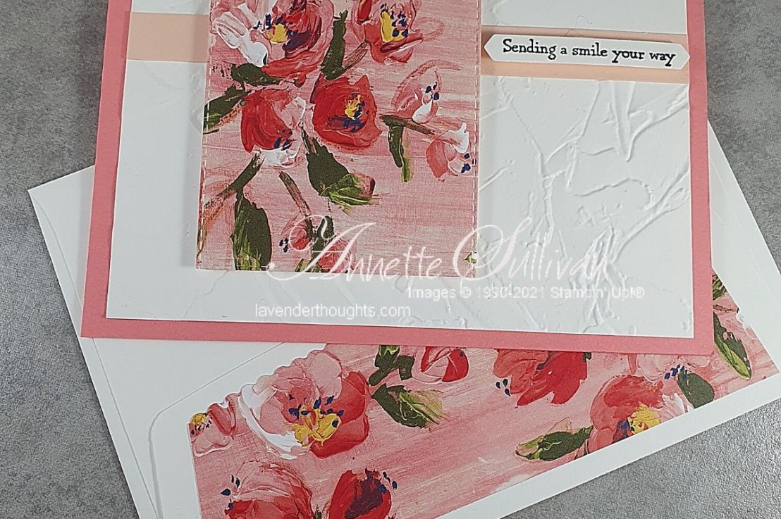 Pretty Pink Flowers on a Textured Background for the Sketch Challenge at Splitcoaststampers