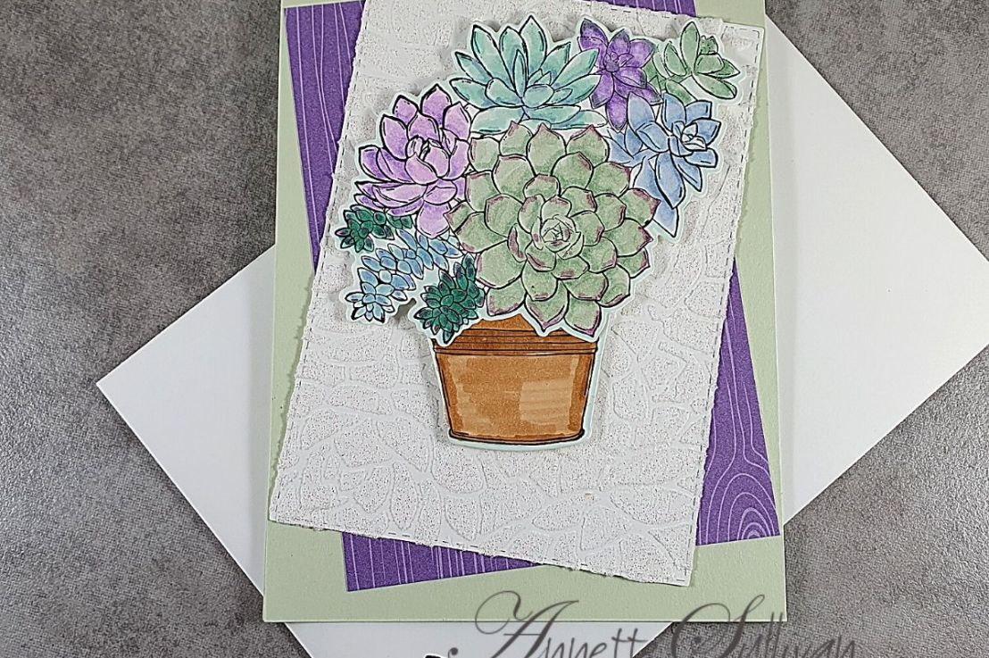 Using a Die as a Stencil with Embossing Paste and SimplySucculents