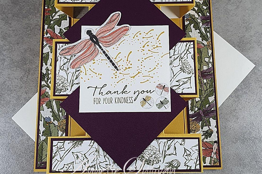 A Tower Fold Card using DragonflyGarden