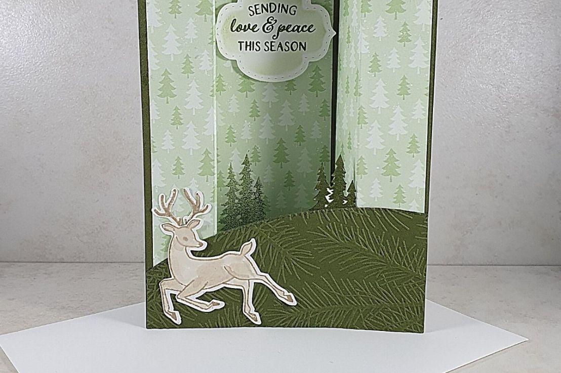 Sneak Peek of Peaceful Deer with Bridge Fold Cards for the Sketch Challenge at Splitcoaststampers